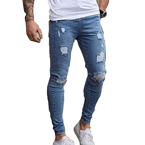 Skinny Vaqueros Hombre - Fashion Slim Pantalones Rotos con Bolsillos Casual Verano Primavera Pantalón Mezclilla Rasgado Pantalones Jeans Tallas Grandes