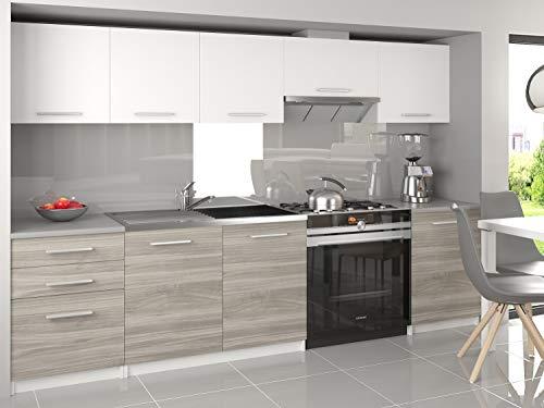 Mobili da Cucina Completi colore Bianco/Grigio, 240 cm