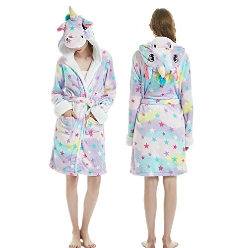 YPDM túnica Adultos Invierno Coral Terciopelo con Capucha Unicornio Bata Mujer Franela Bata Stitch Panda Animal Batas de baño...