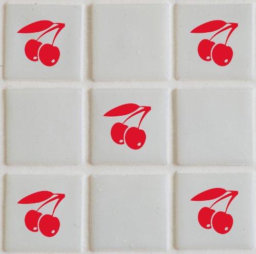 vinylworld \'ciliegie\' da cucina in ceramica piastrelle adesivi sticker set  X36 (rosso)
