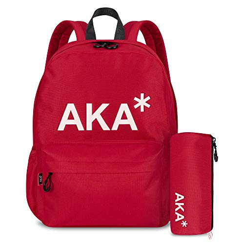 AKA* Berwick Backpack - Red Waterproof School Bag with Laptop Compartment & Free Pencil Case - Designer Schoolbag