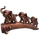 Elefantenstatuen Wohnkultur Feng Shui Figur DREI Elefanten auf Brückenstamm Skulptur Ornament, ziehen Reichtum, Wohlstand & Glück an