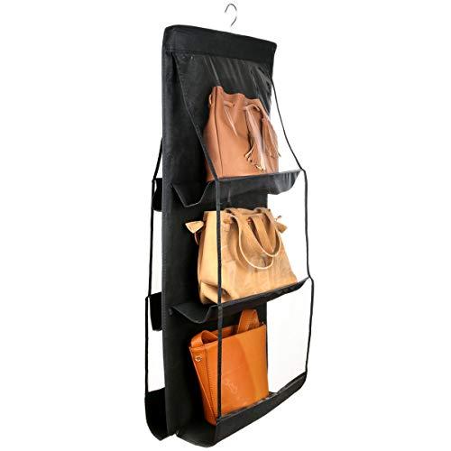 Szxc Hanging Medium Handbag Purse Organizer - with Dual-Sided 6 Clear See-Through Pockets (10 L x 12 W x 6 H) inch - Closet Wardrobe Storage Organization (Black)
