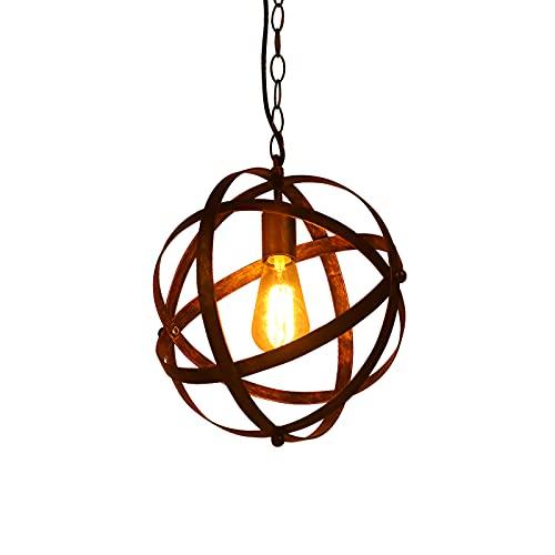 Huahan Haituo Vintage Industrial Globe Colgante lámpara lámpara metal esférica ajustable lámpara colgante lámpara de techo para el pasillo del comedor de la sala de estar (Rust)