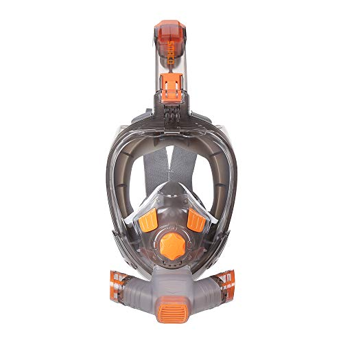 Full Face Snorkel Mask Adult Snorkeling Mask with Camera Mount, 180 Degree Panoramic HD View Anti-Fog&Anti-Leak Dive Mask Connectable with Scuba Diving Tank Support Snorkeling&Diving, L/XL Size