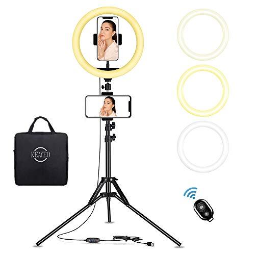Keayeo 12 Inch Ring Light, Adjustable Brightness, Remote, Stand