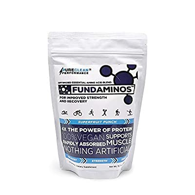 FUNDAMINOS - Great-Tasting Essential Amino Acid Powder + BCAA Blend, Organic, Plant-Based Physician Formulated for Peak Strength and Faster Muscle Recovery (60 Serving One Bag (390g))