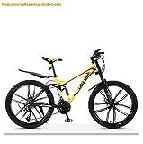 ZTBXQ Fitness Deportes al Aire Libre Hombres Off-Road Downhill Mountain Bike Doble Freno de Disco Adultos Bicicletas de Nieve Marco de Acero de Alto Carbono Bicicleta de Playa Ruedas de 26 Pulgadas