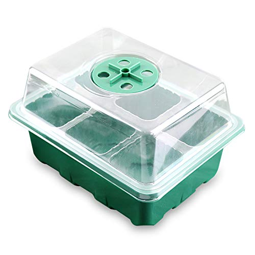 TETHYSUN Paquete de 3 bandejas de iniciación de semillas, kit de iniciación de plantas ajustable con cúpula y base de invernadero, mini propagador para semillas, 6/12 celdas