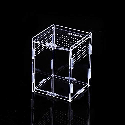 Vinnykud Mini Terrarium Transportbox,Reptil Fütterungsbox aus Acryl, Tragbarer Reptilienzuchtbox Transparent Reptil Zuchtfall für Spinnenechsen, Eidechse, Skorpion, Gehörnter Frosch (8×7×10cm)