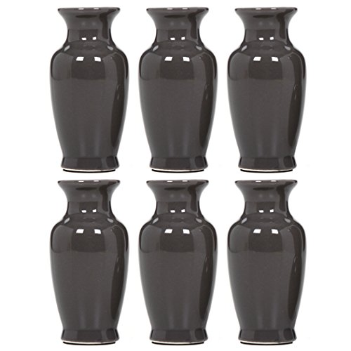 "Hosley 3.75"" High Gray Mini Bud Vases. Set of 6, Value Pack. Ideal Gift for Weddings, Special Occasions, Parties, Events, Aromatherapy Reiki, Spa, Meditation Settings O9"