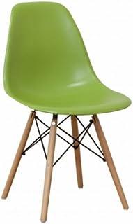 世界で有名なデザイナーズチェア 「イームズチェアー DSW(木脚)」【グリーン色(緑色)】 ウッドベースサイドシェルチェア Eames Chair ダイニングチェア デスクチェアー