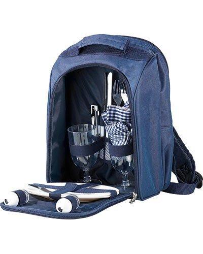 Xcase Picknick Set: Thermo-Picknick-Rucksack mit Kühlfach, bestückt für 2 Personen (Picknickrucksack mit Kühlfach)