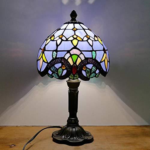 Lámpara de mesa estilo Tiffany de 8 pulgadas Simple, estilo mediterráneo europeo Restaurante Bar Café Lámpara de mesa pequeña Lámpara de mesa de vidrio con pantalla de vidrio (color : Azul)