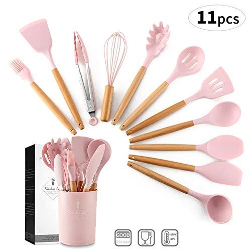 Nwlzx Silikon Küchenutensilien,11 Pcs Küchenhelfer Set, Hitzebeständig Küche Utensil Set mit Harten Holzgriff Antihaft/Einfach zu Reinigen/Suppe Löffel, Spachtel, Schneebesen Pink