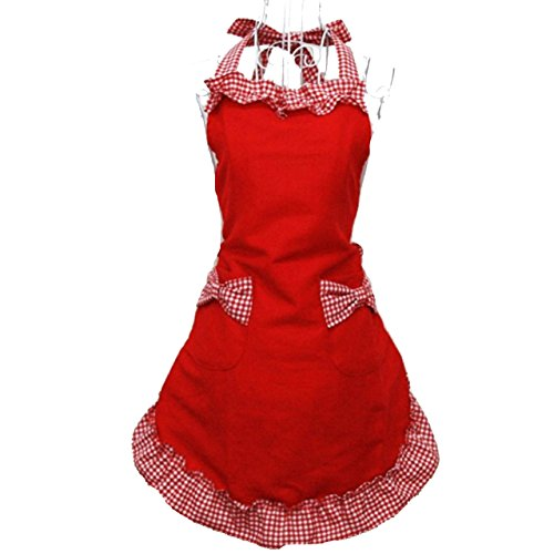 Hyzrz Cute Fashion Cotton Red Aprons for Women Girls Vintage Cooking Retro Apron with Pockets for Mother's day Gift