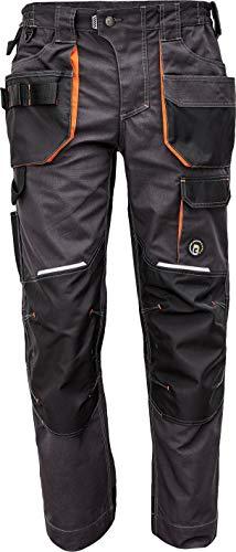 DINOZAVR Emerton Plus Herren Arbeitshose - Strapazierfähig Bundhose mit Knietaschen und Elastischem Bund - Grau/Orange 52