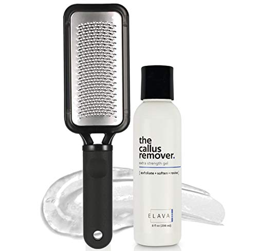 Elavae Callus Remover Gel Extra Strength. Works with foot scrubber, file, pumice stone and other favorite pedicure tools. Achieve foot spa professional results in minutes! (Foot Rasp Included)