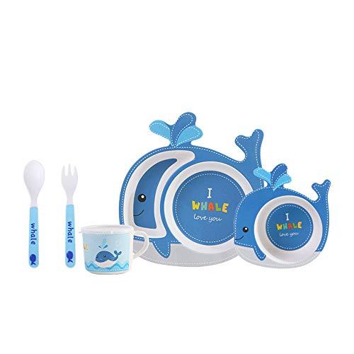 FunBoo Bamboe Walvis Kids Dinnerware Peuter Verdeelde Plaat en Bowl Eetset, 5 Stuk Voeding Set, Milieuvriendelijk Dinnerware voor Jongens en Meisjes