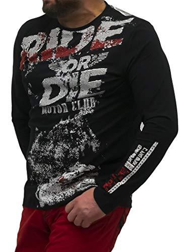 Cipo & Baxx - Sudadera de manga larga para hombre, diseño de calavera con piedras decorativas Negro M (Ropa)