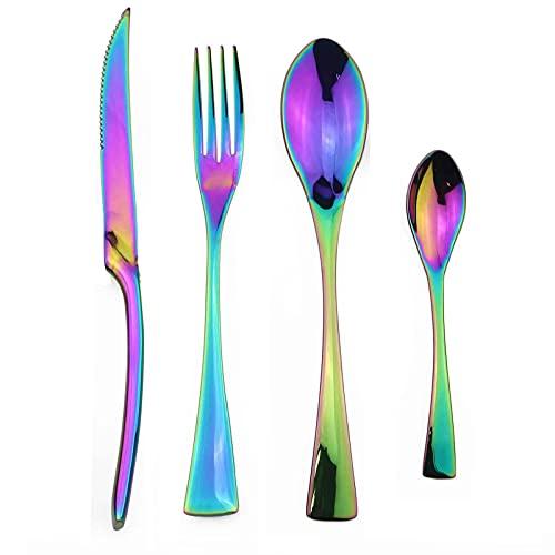 JYSXAD Juego de 4 cubiertos de acero inoxidable, juego de cubiertos de vajilla vajilla cuchillo, cuchara tenedor, esmalte de espejo y apto para lavavajillas
