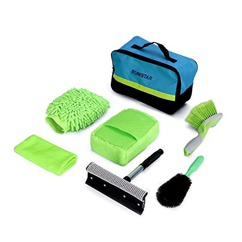 RUN STAR Car Cleaning Kit, 6Pcs Car Wash Kit for Car Detailing, Tire Brush, Wheel Brush, Window Duster, Car Wash Sponge, Wash Mitt, Drying Towel