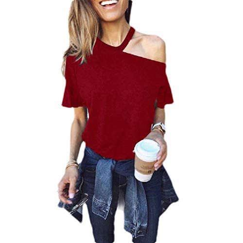 GRMO Women's Cold Shoulder Solid Color Sexy Short Sleeve Loose Fit T Shirts Wine Red...
