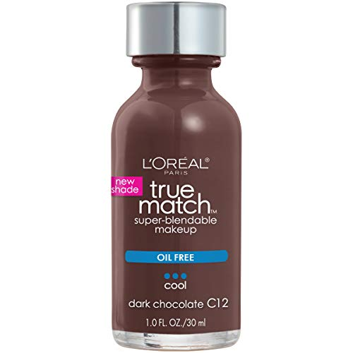 L'Oreal Paris Makeup True Match Super-Blendable Liquid Foundation, Dark Chocolate C12, 1 Fl Oz,1 Count