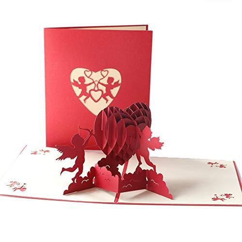 Tarjeta romántica de felicitación, tarjeta de felicitación, 3D, aniversario, día de San Valentín, boda, cumpleaños, invitaciones de boda