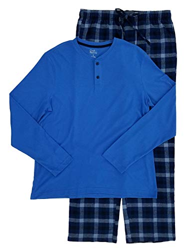 Men's 2-Piece Blue Henley & Flannel Lounge Pants Sleep Set Pajama Set Medium
