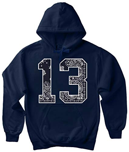 Navy Blue Bandana 13 Hoodie South Side Jersey # 13 Cholo Art Hooded Sweatshirt - Navy Blue - XX-Large