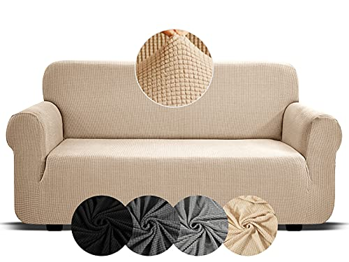 Sofa Covers 3 Seater Beige High Stretch Covers For Sofas Sofa Covers For Leather Sofa Slipcovers Living Room Furniture Elastic Fabric Sofa Cover Recliner Chair Covers Home Settee Protectors