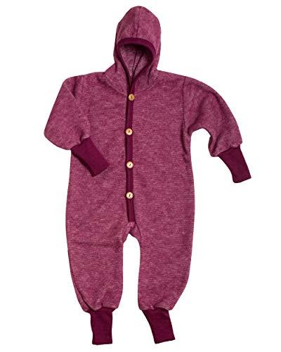 Cosilana Baby Kinder Fleece Overall mit Bündchen am Armen und Füßen, 60% Wolle (kbT), 40% Baumwolle (KBA) (98/104, Weinrot Melange)