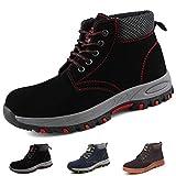 Zapatillas de Seguridad Hombre Trabajo Botas de Seguridad Mujer Zapatos con Punta de Acero Ligeras Comodas Industriales, A201 Negro 42