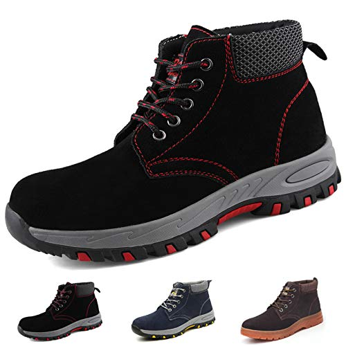 Zapatillas de Seguridad Hombre Trabajo Botas de Seguridad Mujer Zapatos con Punta de Acero Ligeras Comodas Industriales, A201 Negro 42 ✅