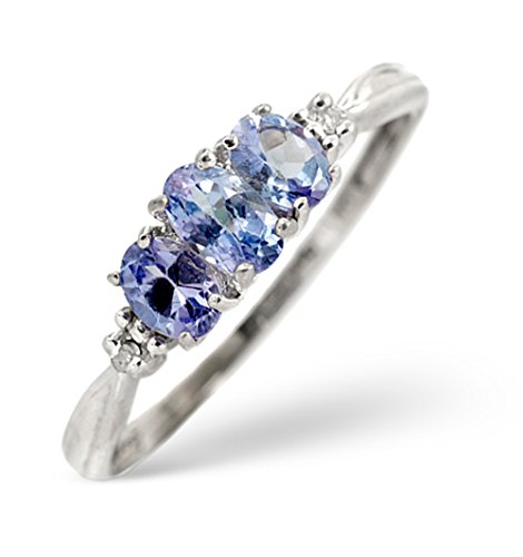 TheDiamondStore - Ring - erlesene Tansanite & Diamanten - Weißgold 9 Karat - Ringgröße 51