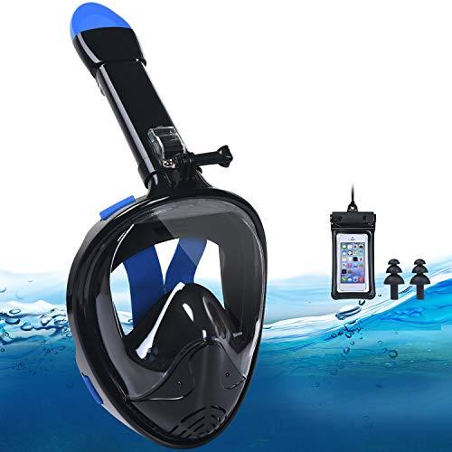 flintronic Máscara de Buceo, Plegable Máscara Snorkel, Máscara de Snorkel de Cara Completa 180 ° Vista Panorámica con Bolsa Impermeable para Teléfono, Anti-Niebla y Anti-Fugas para Adultos