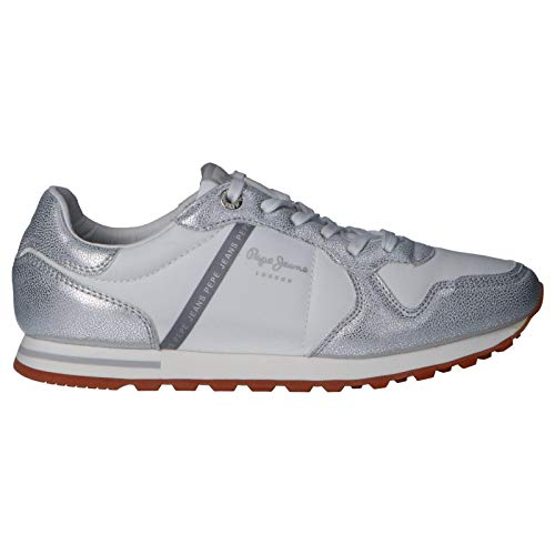 Pepe Jeans Verona W PLS 30983 Blanco/Plata Zapatillas para Mujer, 38