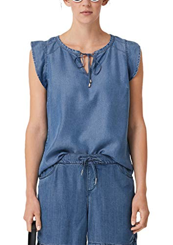s.Oliver Damen 14.907.13.4223 Bluse, Blau (Blue Denim Non Stretch 53y3), (Herstellergröße: 36)