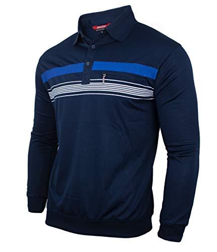 Humy Herren Langarm Poloshirt, Gestreifte Blousonshirts Baumwoll-Mix (2XL, [M2] Navy)
