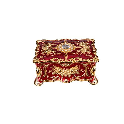 JOYKK Vintage rechthoekige sieradendoos sieradendoos versierd antieke gegraveerde doos