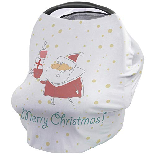 For Sale! Merry Christmas Nursing Cover for Baby Breastfeeding, Soft Breathable Stretchy Carseat Can...