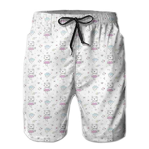DHNKW Men's Swim Trunks Board Shorts Beach Pants Surfing Boardshorts,Funny Cartoon Happy Lady Cat Pattern with Hearts Crown Comet Clouds and Raindrops,Fancy Print Hawaiian Shorts Four Size