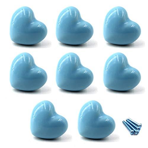 Niedliche Herz-Form Keramik Knauf Schrank Griffe Türknauf Schublade Griff Pull Knöpfe für Kinder Kid 's Room Kommode,Küche Schränke, Badezimmer KinderZimmer Dekor 8 Stück-Blau