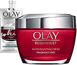 Olay Regenerist Micro-Sculpting Cream Face Moisturizer with Hyaluronic Acid, Niacinamide & Vitamin B3+, Fragrance-Free, 1.7 Ounce + Whip Face Moisturizer Travel/Trial Size Gift Set