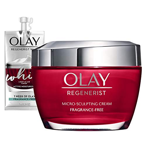 Olay Regenerist MicroSculpting Cream Face Moisturizer with Hyaluronic Acid Niacinamide Vitamin B3+ FragranceFree 1.7 Ounce + Whip Face Moisturizer Mothers Day Gift Set
