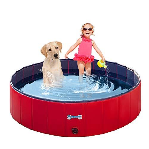 V-HANVER Piscina para Perros Plegable para Perros Pequeños, Medianos y Grandes, Material Robusto Piscina para Niños Piscina para Perros Piscina para Niños y Perros, 100% Segura (D120cm, H30cm)