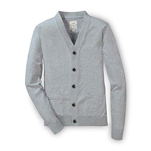 Hope & Henry Men's Classic Cardigan Sweater Gray Heather