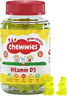 Vitamin D - Chewable Gummies- Vegetarian, Vegan, Halal, Sugar Free & Gluten Free, Non-GMO - for Adults and Children to Support Healthy Growth and Development by Chewwies Vitamins