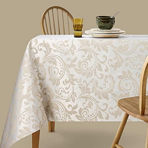 Viste tu hogar Mantel Jacquard Resinado, 140x140 CM, Impermeable y Resistente, para Decoración de Mesa, Ideal en Fechas Especiales, Patrón Flores, Beige